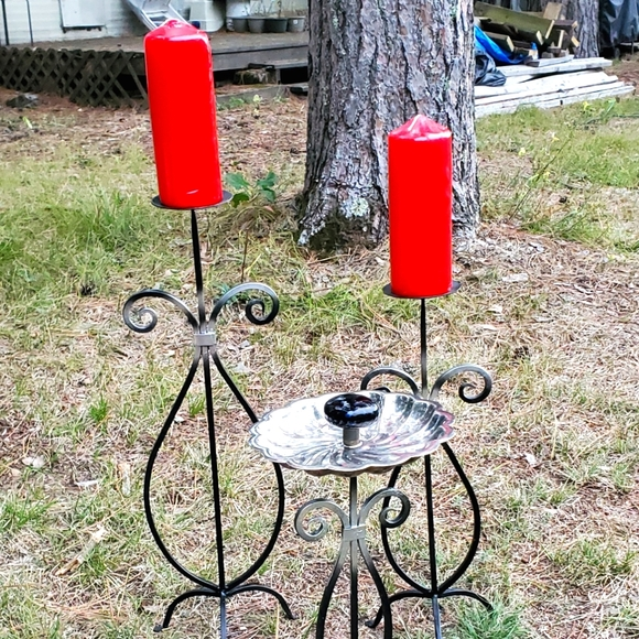 Vintage Wrought Iron Candle Holder Trio